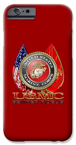 Marine Corps Digital iPhone Cases - U. S. Marine Corps U S M C Emblem on Red iPhone Case by Serge Averbukh