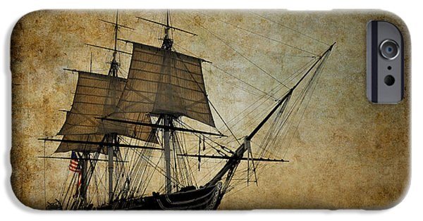 Tall Ship Mixed Media iPhone Cases - U S S Constitution iPhone Case by Daniel Hagerman