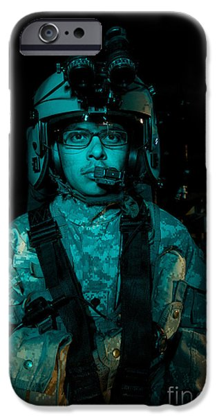 Night Angel iPhone Cases - Uh-60 Black Hawk Crew Chief iPhone Case by Terry Moore