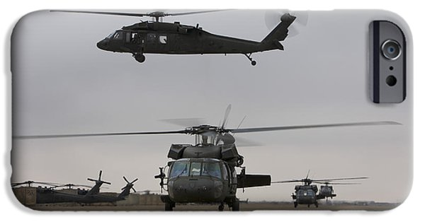 Iraq iPhone Cases - Uh-60 Black Hawks Taxis iPhone Case by Terry Moore