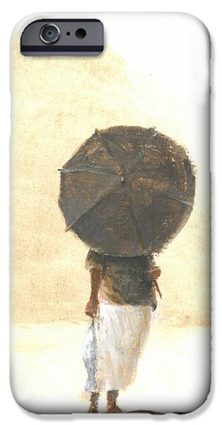 Umbrella Paintings iPhone Cases - Umbrella and Fish Two iPhone Case by Lincoln Seligman