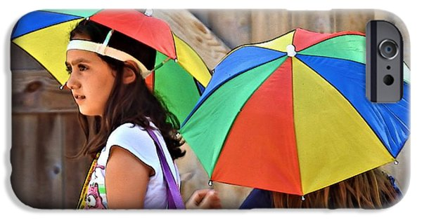Little Girl iPhone Cases - Umbrella Heads iPhone Case by Laura Ragland