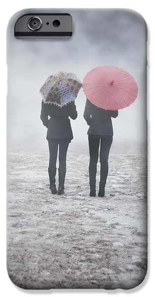 Couple iPhone Cases - Umbrellas In The Mist iPhone Case by Joana Kruse