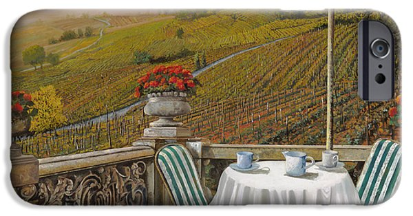 Vineyard Landscape iPhone Cases - Un Caffe iPhone Case by Guido Borelli