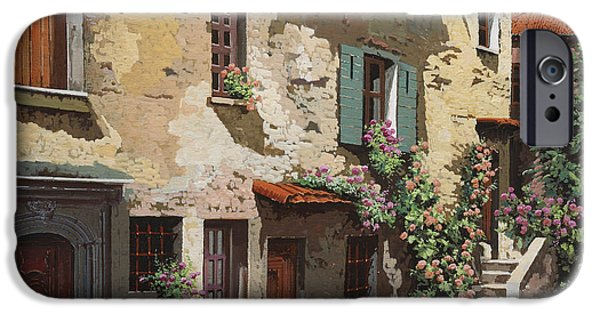 Village Paintings iPhone Cases - Un Cielo Improbabile iPhone Case by Guido Borelli