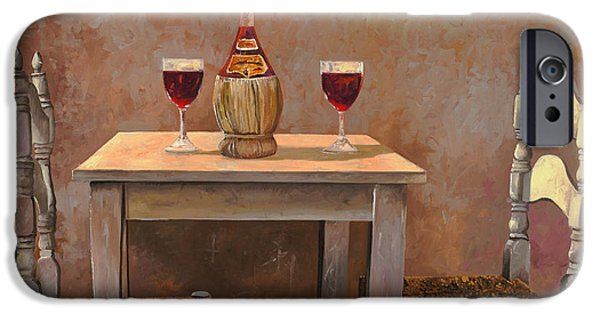 Window Paintings iPhone Cases - un fiasco di Chianti iPhone Case by Guido Borelli