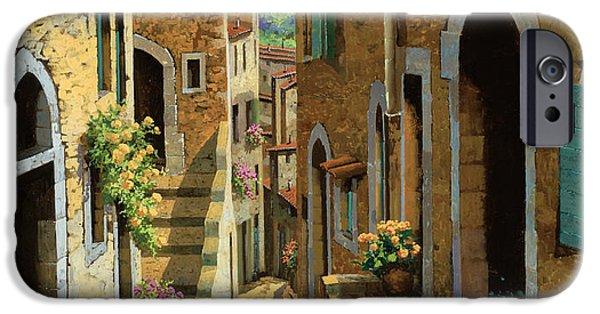Sunshine Paintings iPhone Cases - Un Passaggio Tra Le Case iPhone Case by Guido Borelli