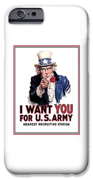 States Mixed Media iPhone Cases - Uncle Sam -- I Want You iPhone Case by War Is Hell Store