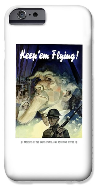Uncle Sam iPhone Cases - Uncle Sam Keep Em Flying  iPhone Case by War Is Hell Store