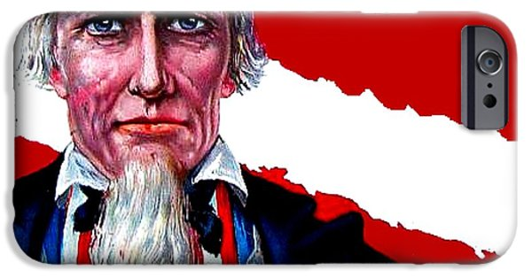 4th July Drawings iPhone Cases - Uncle Sam iPhone Case by Marianne Dow