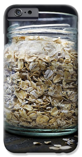 Oatmeal iPhone Cases - Uncooked Oatmeal Flakes iPhone Case by Donald  Erickson
