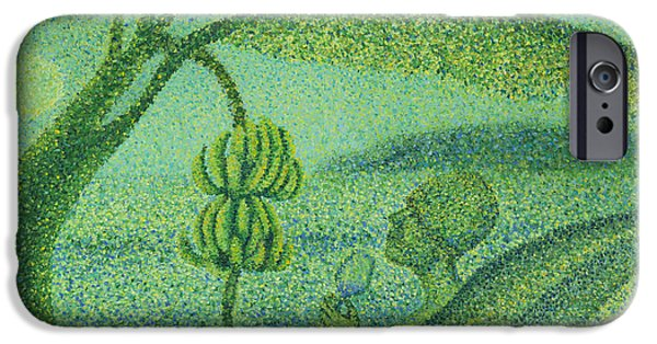 Abstract Beach Landscape Drawings iPhone Cases - Under the Banana Tree iPhone Case by Sean Corcoran