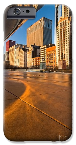 Under the bean and Chicago skyline at sunrise iPhone Case by Sven Brogren