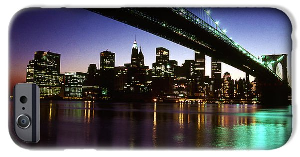 Twin Towers Nyc iPhone Cases - Under the Brooklyn Bridge iPhone Case by Paul Lamonica