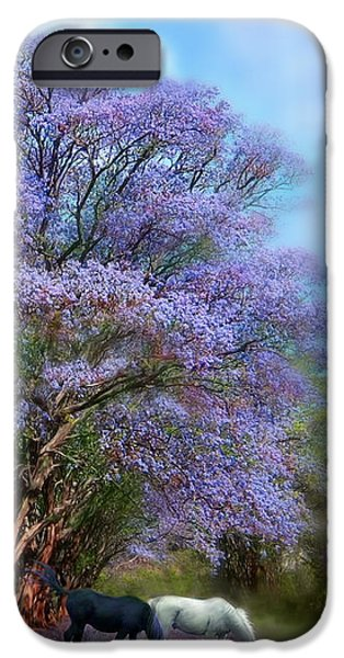 The Horse iPhone Cases - Under The Jacaranda iPhone Case by Carol Cavalaris