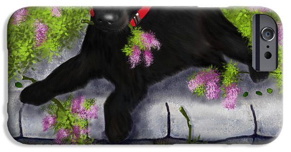 Puppy Digital Art iPhone Cases - Under the Lilacs iPhone Case by Sannel Larson