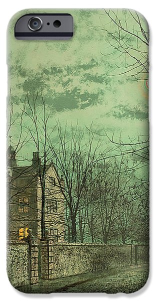 Eerie Paintings iPhone Cases - Under the Moonbeams iPhone Case by John Atkinson Grimshaw