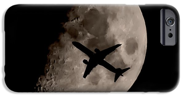 Airplane Photographs iPhone Cases - Under The Moons Shadow iPhone Case by Martin Newman