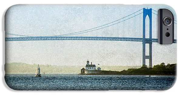 New England Lighthouse iPhone Cases - Under the Newport Bridge iPhone Case by Jerri Moon Cantone