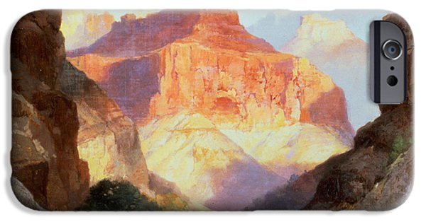 Hudson River iPhone Cases - Under the Red Wall iPhone Case by Thomas Moran