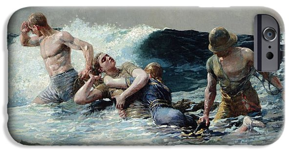 Figures iPhone Cases - Undertow iPhone Case by Winslow Homer