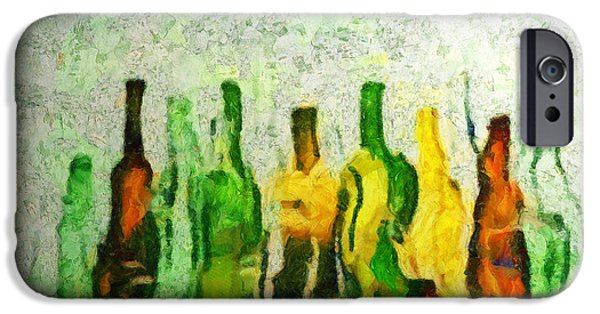 Wine Bottles iPhone Cases - Une Histoire De La Bouteille iPhone Case by Sir Josef  Putsche