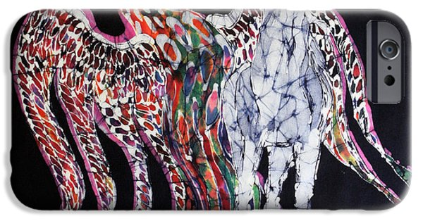 Emergence Tapestries - Textiles iPhone Cases - Unicorn and Phoenix Merge Paths iPhone Case by Carol Law Conklin