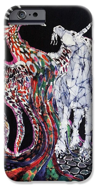 Unicorn and Phoenix Merge Paths iPhone Case by Carol Law Conklin