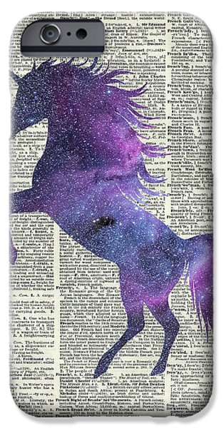 Unicorn Art iPhone Cases - Unicorn in Space iPhone Case by Jacob Kuch