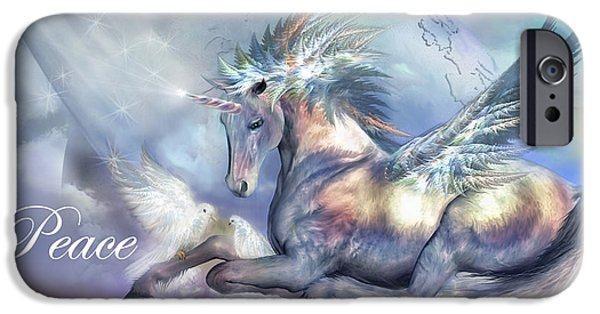 Unicorn Art iPhone Cases - Unicorn Of Peace Card iPhone Case by Carol Cavalaris