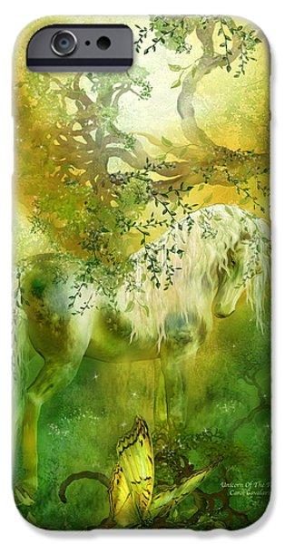 Unicorn Art iPhone Cases - Unicorn Of The Forest  iPhone Case by Carol Cavalaris
