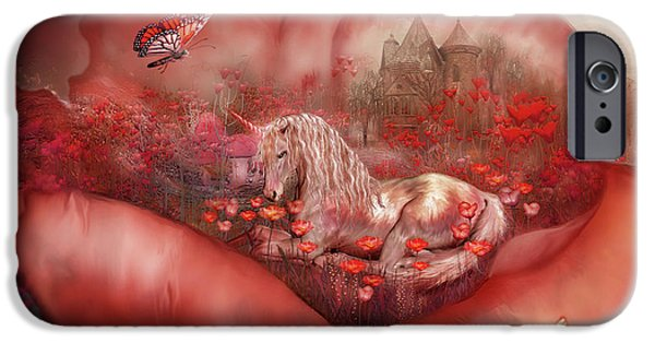 Unicorn Art iPhone Cases - Unicorn Of The Poppies iPhone Case by Carol Cavalaris
