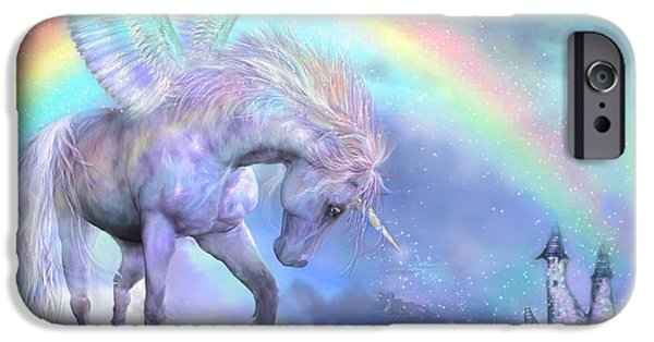Unicorn Art iPhone Cases - Unicorn Of The Rainbow iPhone Case by Carol Cavalaris