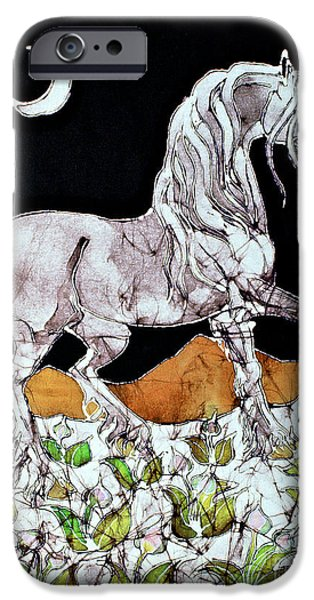 Horse Tapestries - Textiles iPhone Cases - Unicorn Over Flower Field iPhone Case by Carol  Law Conklin