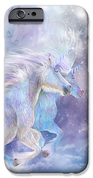 Unicorn Art iPhone Cases - Unicorn Soulmates iPhone Case by Carol Cavalaris