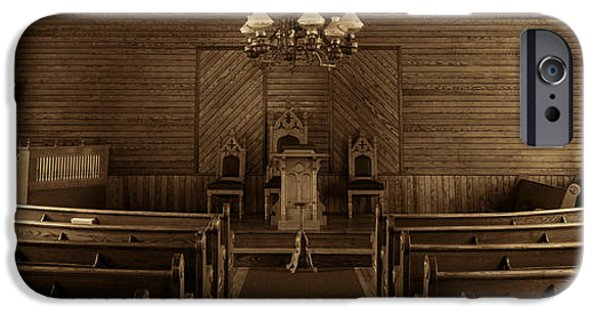 President iPhone Cases - Union Christian Church Sanctuary - Sepia Panoramic iPhone Case by Stephen Stookey