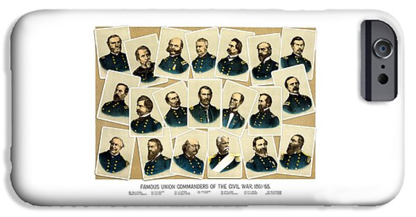 History Mixed Media iPhone Cases - Union Commanders of The Civil War iPhone Case by War Is Hell Store