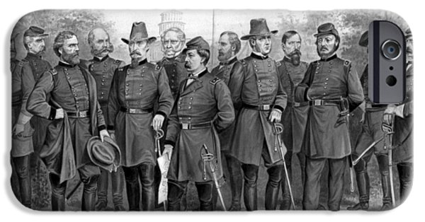 War Drawings iPhone Cases - Union Generals of The Civil War  iPhone Case by War Is Hell Store