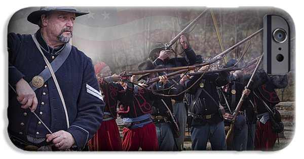 Civil War Re-enactment iPhone Cases - Union Soldier Reenactors iPhone Case by Randall Nyhof