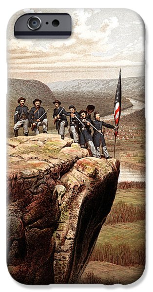 American History Mixed Media iPhone Cases - Union Soldiers On Lookout Mountain iPhone Case by War Is Hell Store