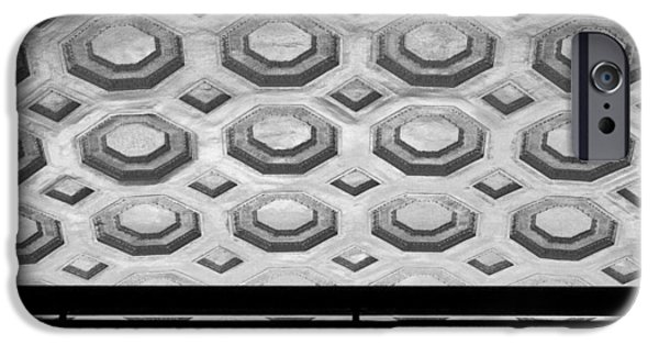 Modern Abstract iPhone Cases - Union Station Ceiling - Black and White #2 iPhone Case by Stuart Litoff
