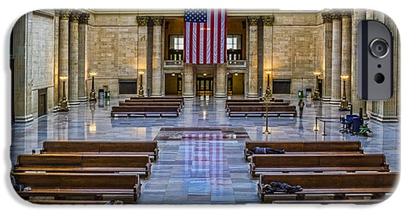 Flag iPhone Cases - Union Station in Chicago iPhone Case by Lindley Johnson