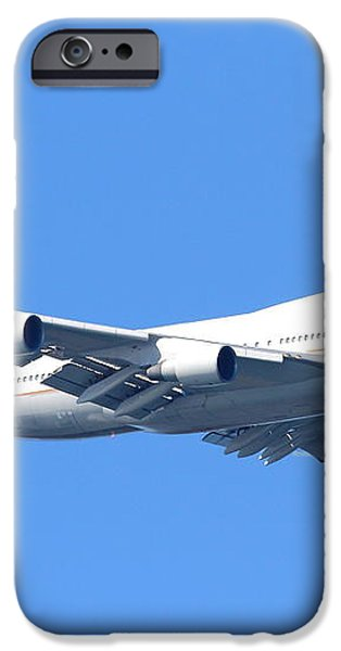 United Airlines Boeing 747 . 7D7850 iPhone Case by Wingsdomain Art and Photography