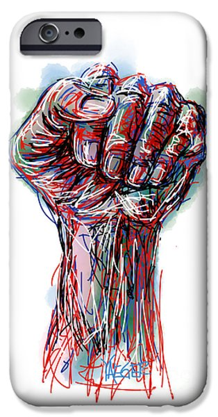 Abstract Digital Drawings iPhone Cases - United America iPhone Case by Robert Yaeger