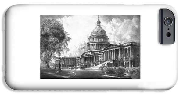 Buildings Mixed Media iPhone Cases - United States Capitol Building iPhone Case by War Is Hell Store