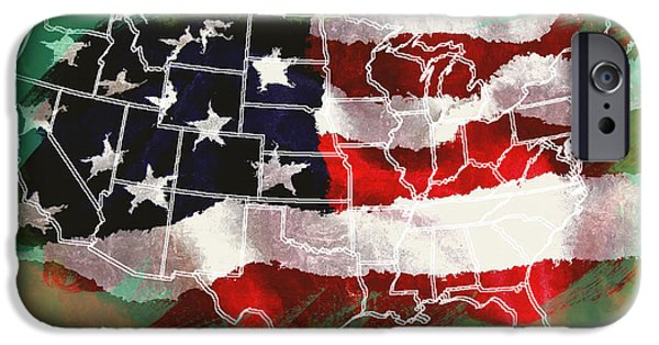 Old Glory iPhone Cases - United States Flag Map iPhone Case by Daniel Hagerman