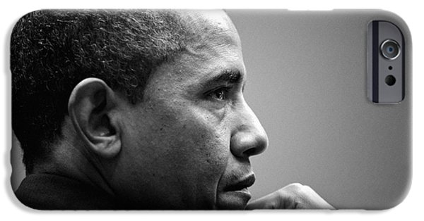 Barack Obama iPhone Cases - United States President Barack Obama BW iPhone Case by Celestial Images