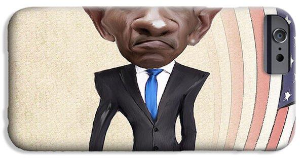 Barrack Obama iPhone Cases - United States President Barack Obama iPhone Case by Lee went