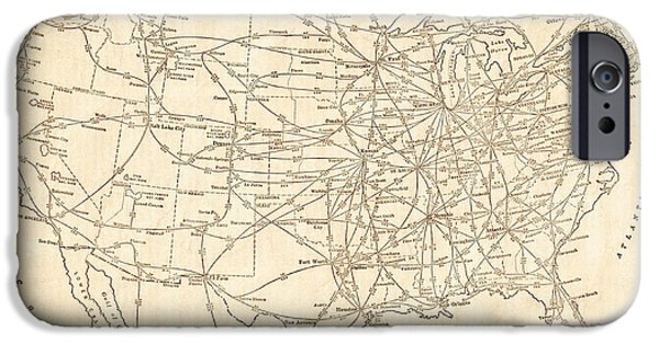 Old Digital Art iPhone Cases - United States Railroad Routes Antique Vintage Country Map iPhone Case by ELITE IMAGE photography By Chad McDermott