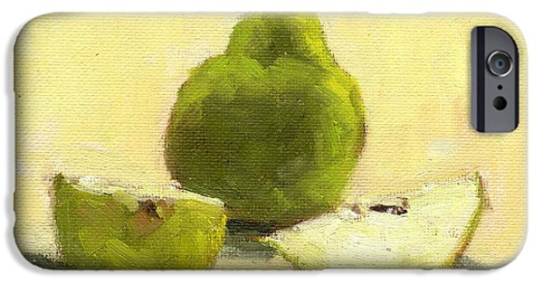 Small iPhone Cases - Unsliced Pear iPhone Case by Marlene Lee